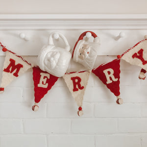 "Wool Felt Pennant Garland ""Merry Christmas"", Cream + Red"