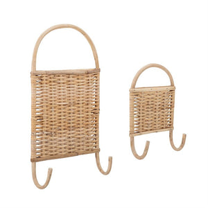 Woven Rattan Wall Hooks (Set of 2)
