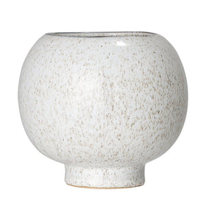 Stoneware Flower Pot, White Reactive Glaze