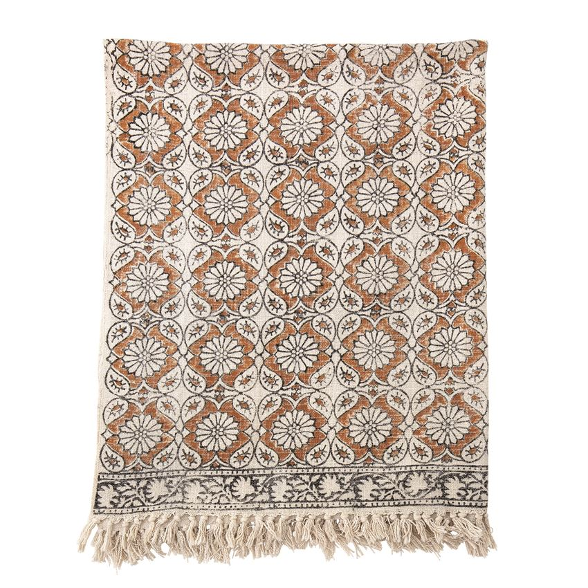 Cotton Printed Throw w/ Fringe, Multi Color