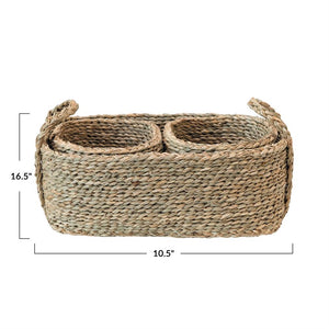 Large Basket with Handles & 2 Hand-Woven Seagrass Nested Baskets, Set of 3