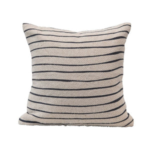 "20"" Square Recycled Cotton Blend Stripe Pillow"