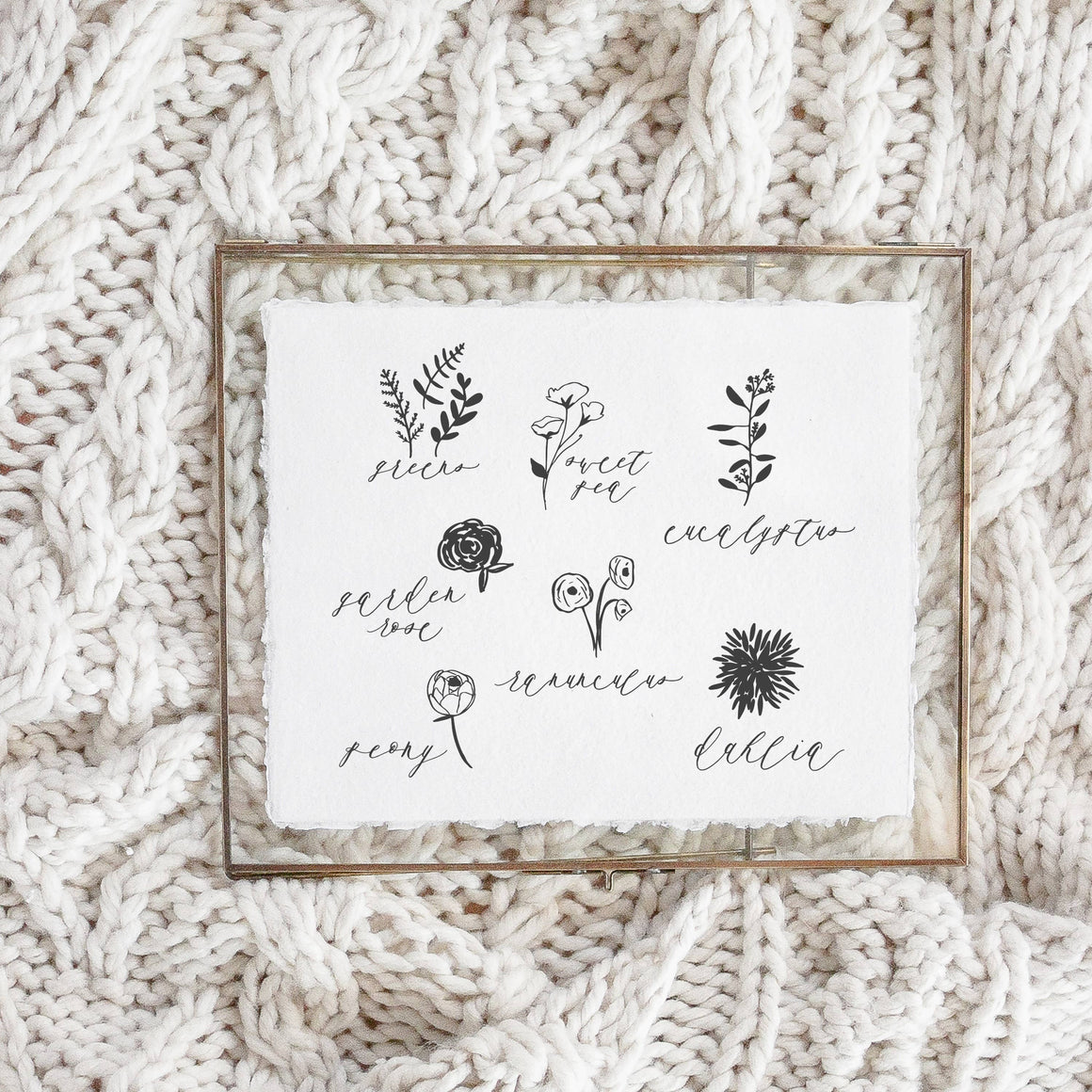 8x10 Flower Types Calligraphy Print (frame not included)