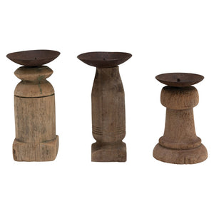 Found Rustic Hand-Carved Wood Pillar Holder