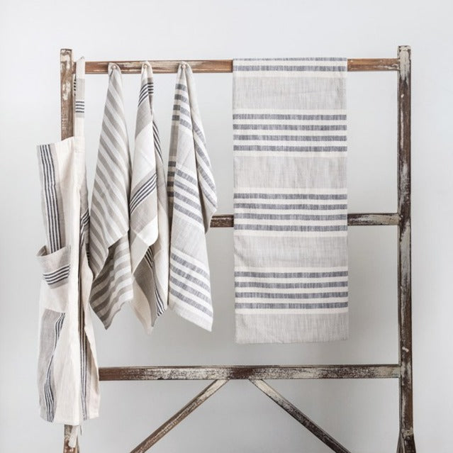 Woven Cotton Stripe Table Runner, Charcoal & Cream