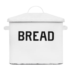 Enameled Bread Box w/ Lid, Distressed White