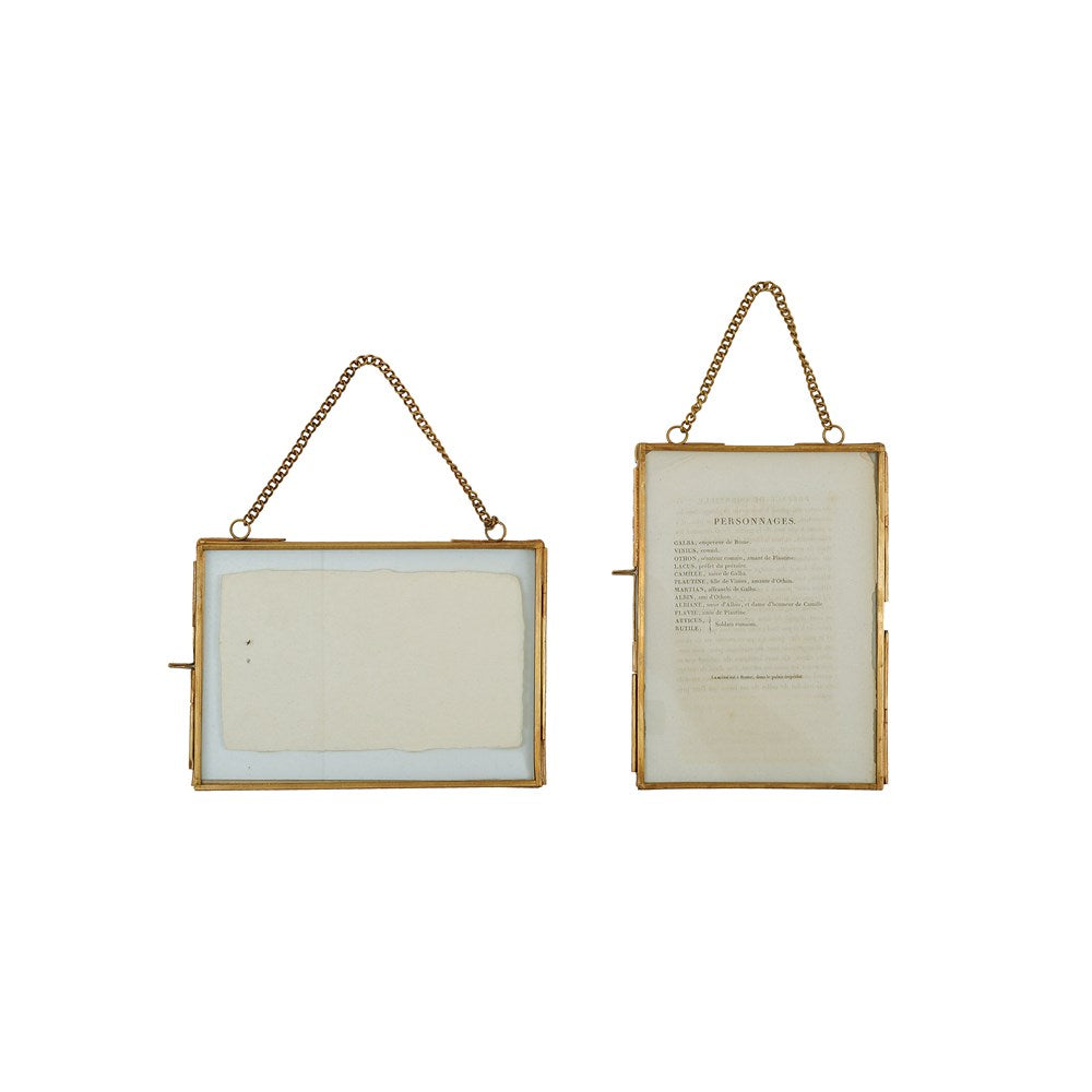 "5""L x 7""H Brass & Glass Photo Frame with Chain - Set of 2 Styles"