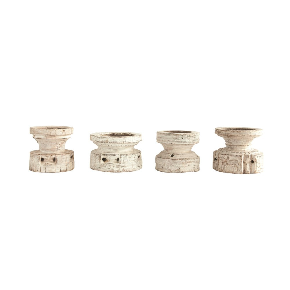 Found Rustic Wood Candle Holder (Chippy Antique White)