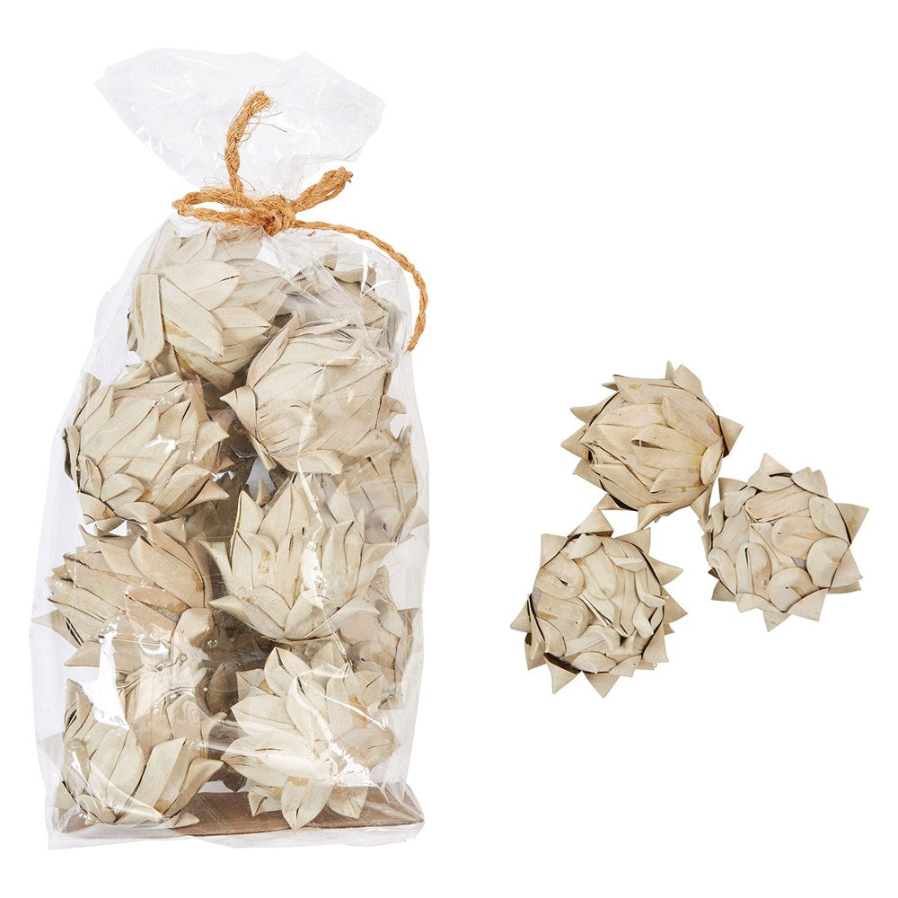 Handmade Dried Natural Palm Leaf Artichokes in Bag (13 Pieces)