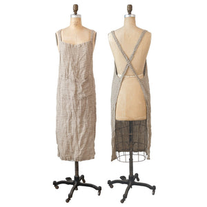 Woven Linen Striped Apron, Brown