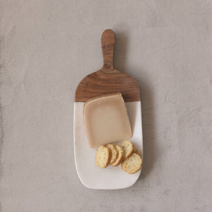Marble Cheese/Cutting Board with Wood Handle, White