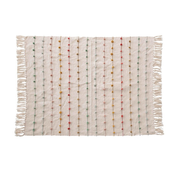 Cotton Knit Baby Blanket w/ Tassels & Multi Color Embroidery Loop