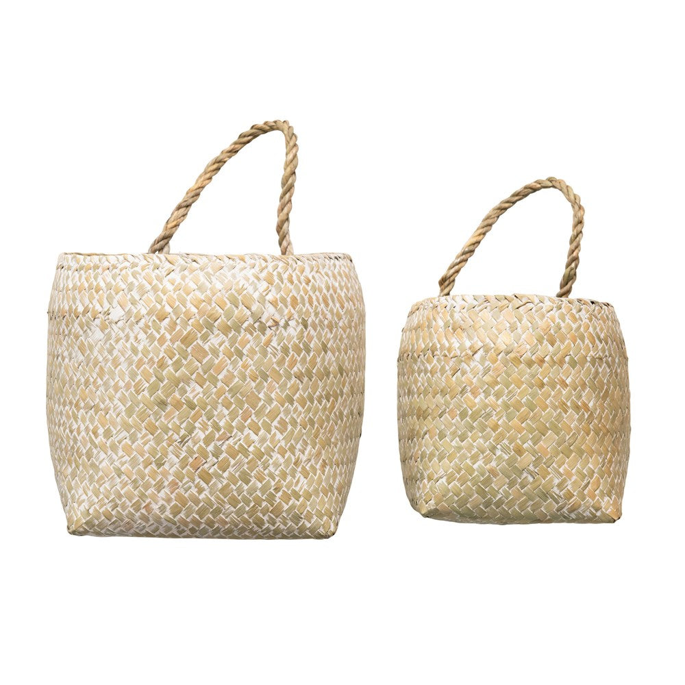Hand-Woven Seagrass Wall Baskets w/ Handles, Whitewashed, Set of 2