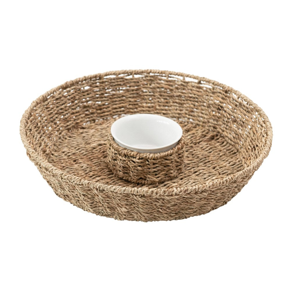 Hand-Woven Seagrass Chip & Dip Basket w/ Ceramic Bowl