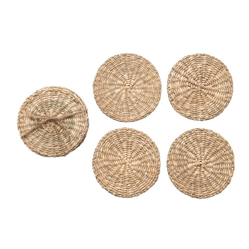 Round Hand-Woven Seagrass Coasters, Natural, Set of 4