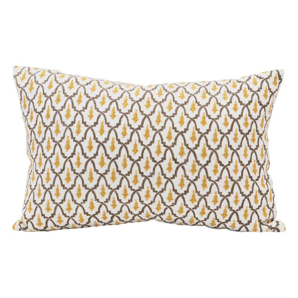 Embroidered Linen & Cotton Lumbar Pillow (Insert Included)
