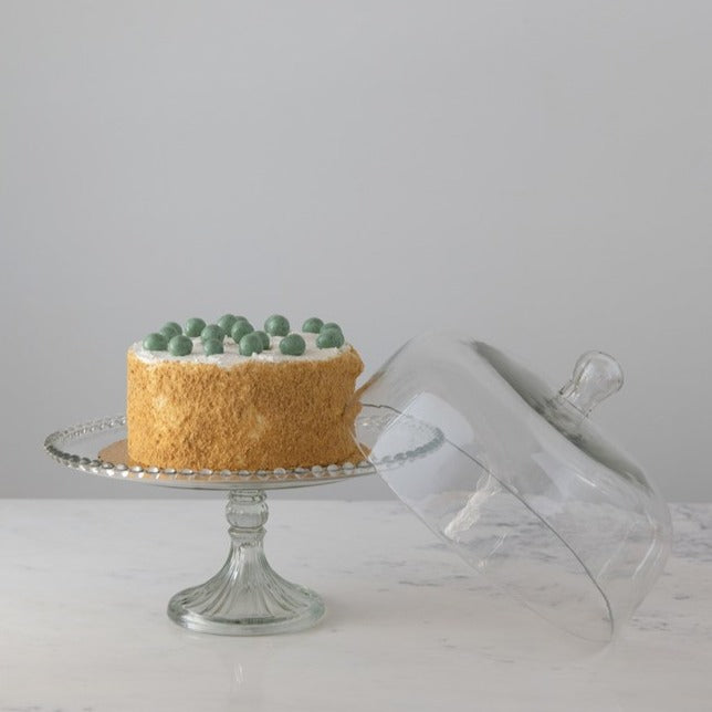 Large Glass Cake Stand with Hobnail Edge and Dome
