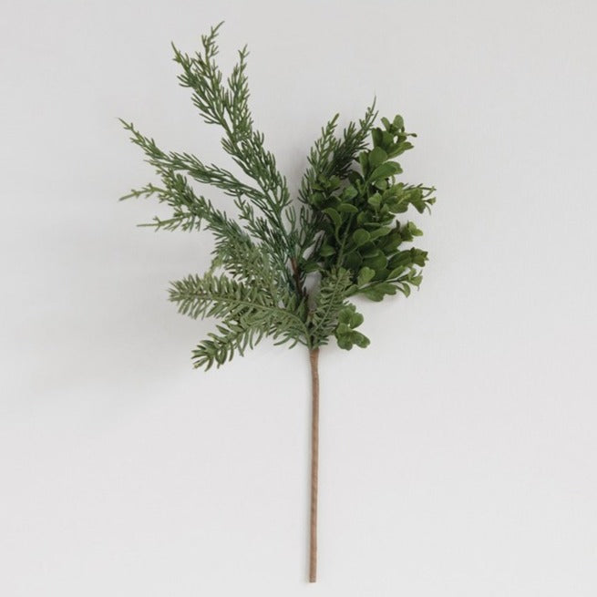 Faux Boxwood & Pine Branch