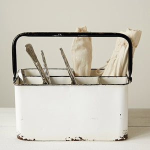 Metal Caddy, White Distressed Enamel Finish