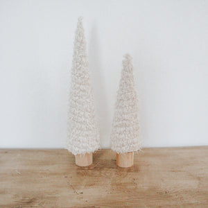 Fabric Cone Tree on Wood Base, Large