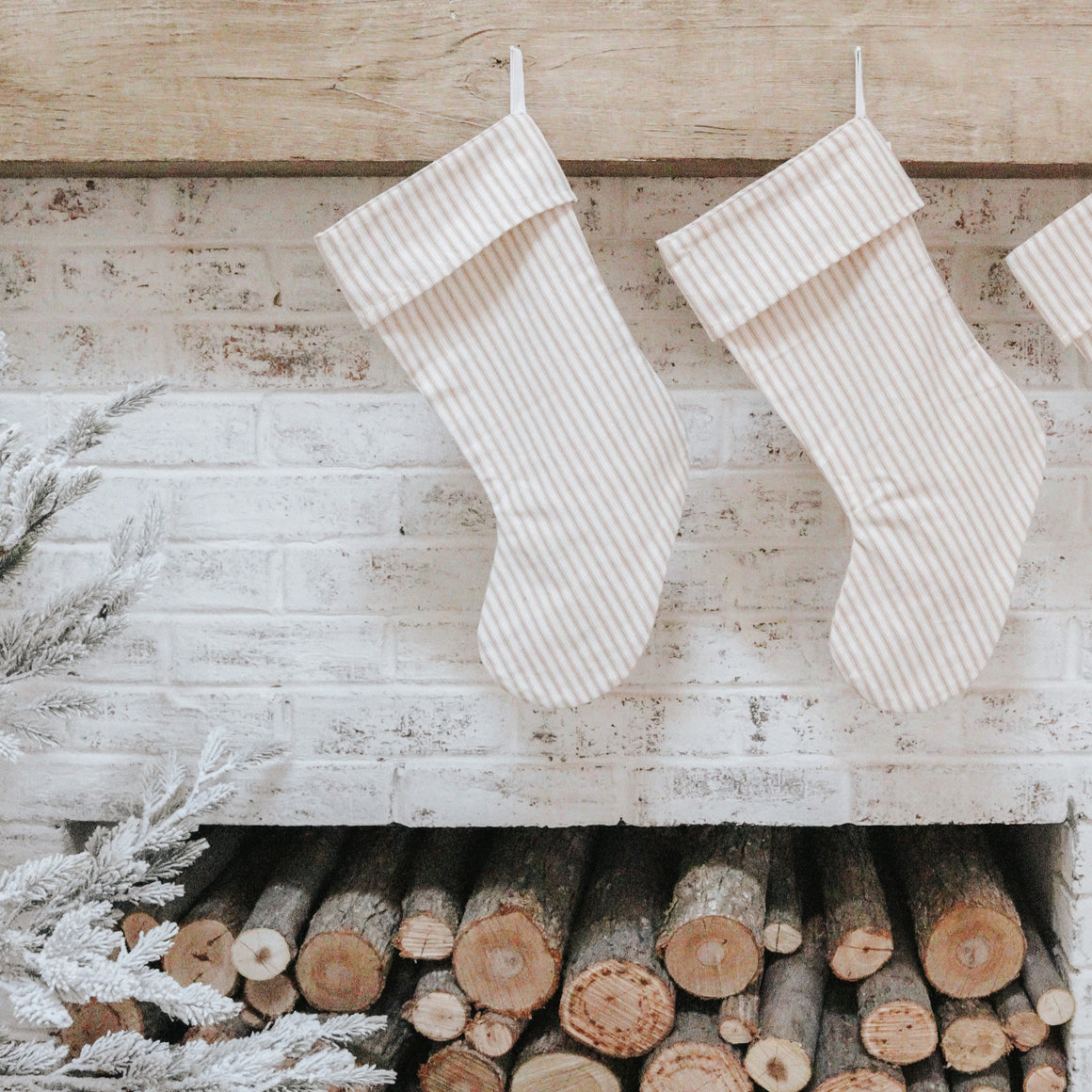 Beige Ticking Christmas Stocking