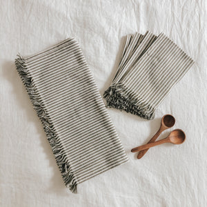 Olive Stripe Napkins - Set of 4