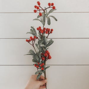 Faux Berry + Leaf Branch - Red Berries