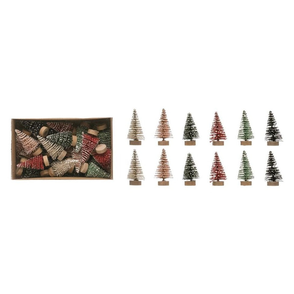 Multi Color Mini Bottle Brush Trees - Set of 24