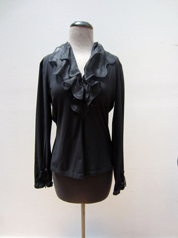 Anne Fontaine Black Long-Sleeve Blouse, 12