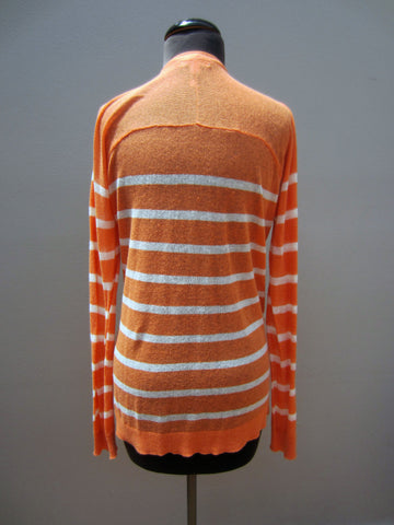 Caslon Orange & White Striped Cardigan, 8