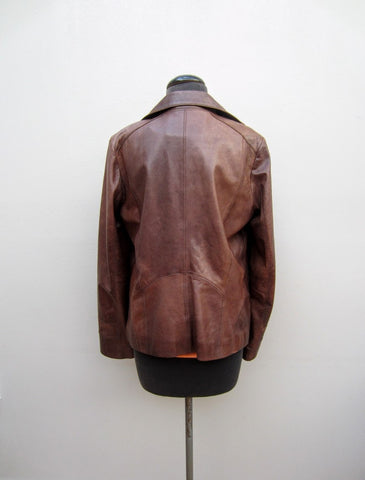 Calvin Klein Brown Leather Jacket, M