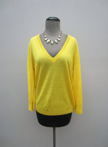 J. Crew Yellow V-Neck Sweater, XL
