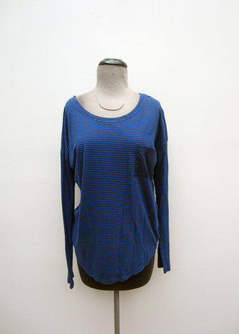 Lucky Brand Blue Striped Long-Sleeve Top, M