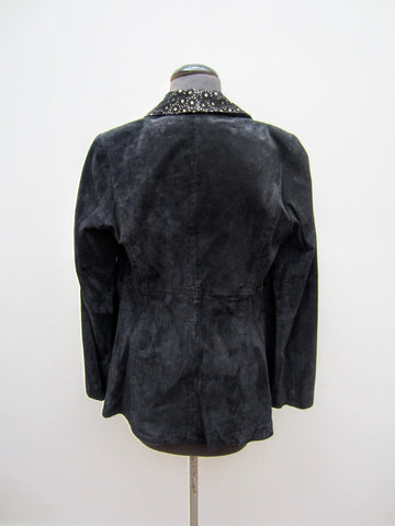 Iman Black Laser Cut Leather Jacket, S