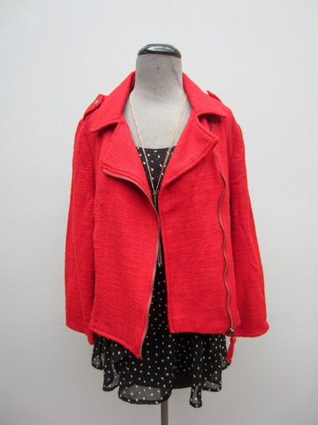 Lucky Brand Red Moto Jacket, XL