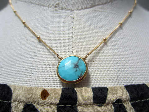 Margaret Elizabeth Gold Chain Turquoise Drop Necklace