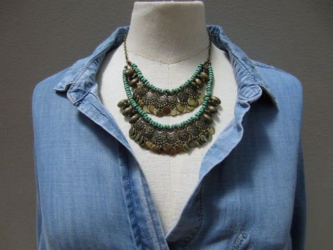 Pixley Turquoise Double Layered Boho Necklace
