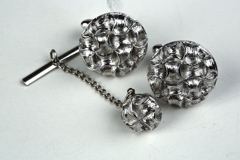 Silvertone Cufflinks and Tie Pin