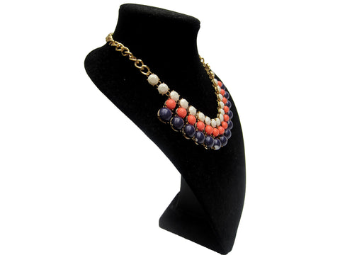 Red Blue and White Beaded Bib Necklace