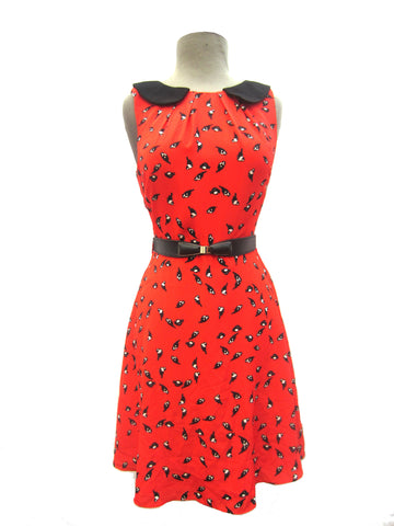 Darling Red Bird Dress, S