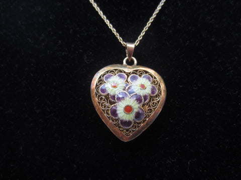 Hollow Heart Pendant with Flowers