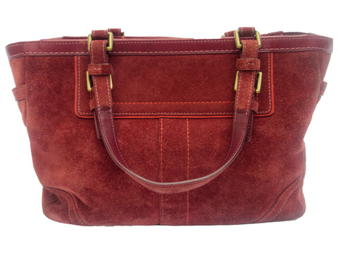 Coach Burgundy Suede Leather Satchel Purse
