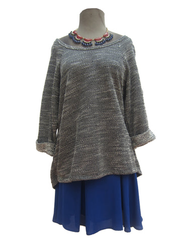 Bobeau Casual Sweater with Lace Cutaway, L