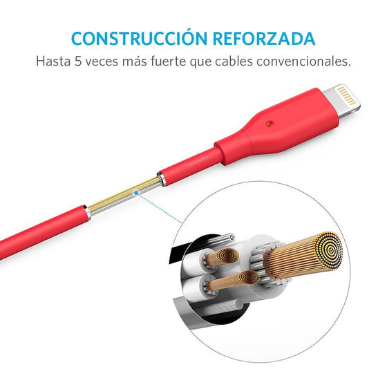 Cable PowerLine Micro USB 0.9m Rojo