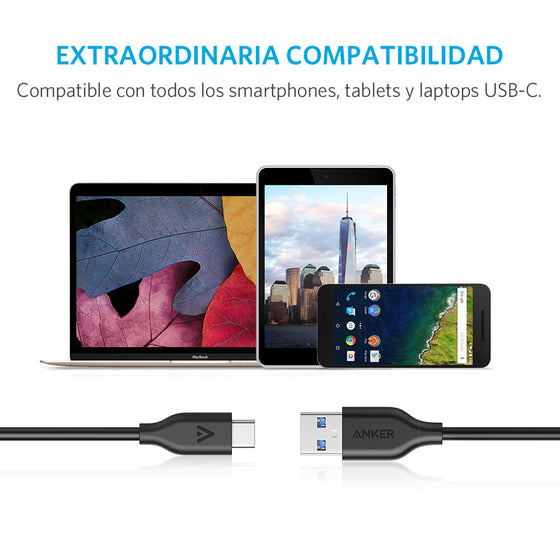 Cable PowerLine USB-C a USB-A 3.0 0.9m Negro