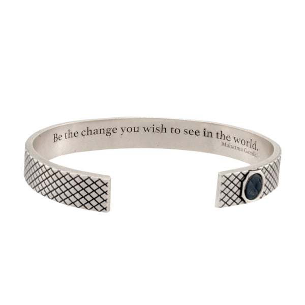 "Skinny Grip Cuff with full ""Be the change..."" Gandhi Quote"