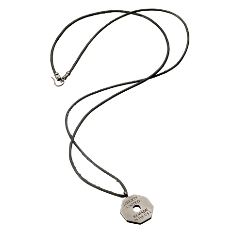 Gunmetal Octagon Tag Pendant Leather Necklace