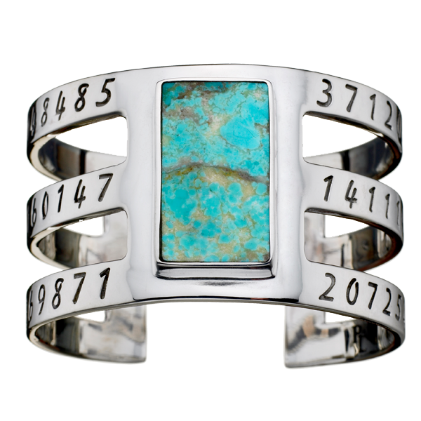 Silver & Gunmetal Inlay Cage Cuff with Turquoise by Pamela Love for Liberty United