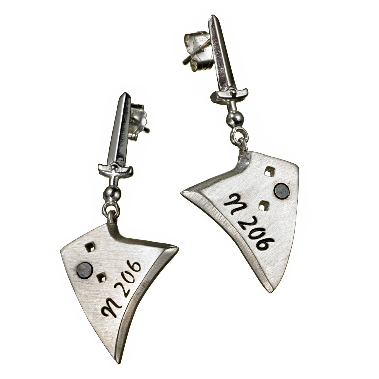 Sterling Silver and Gunmetal Sword & Plowshare Drop Earrings