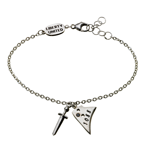 Sterling Silver and Gunmetal Sword & Plowshare Bracelet
